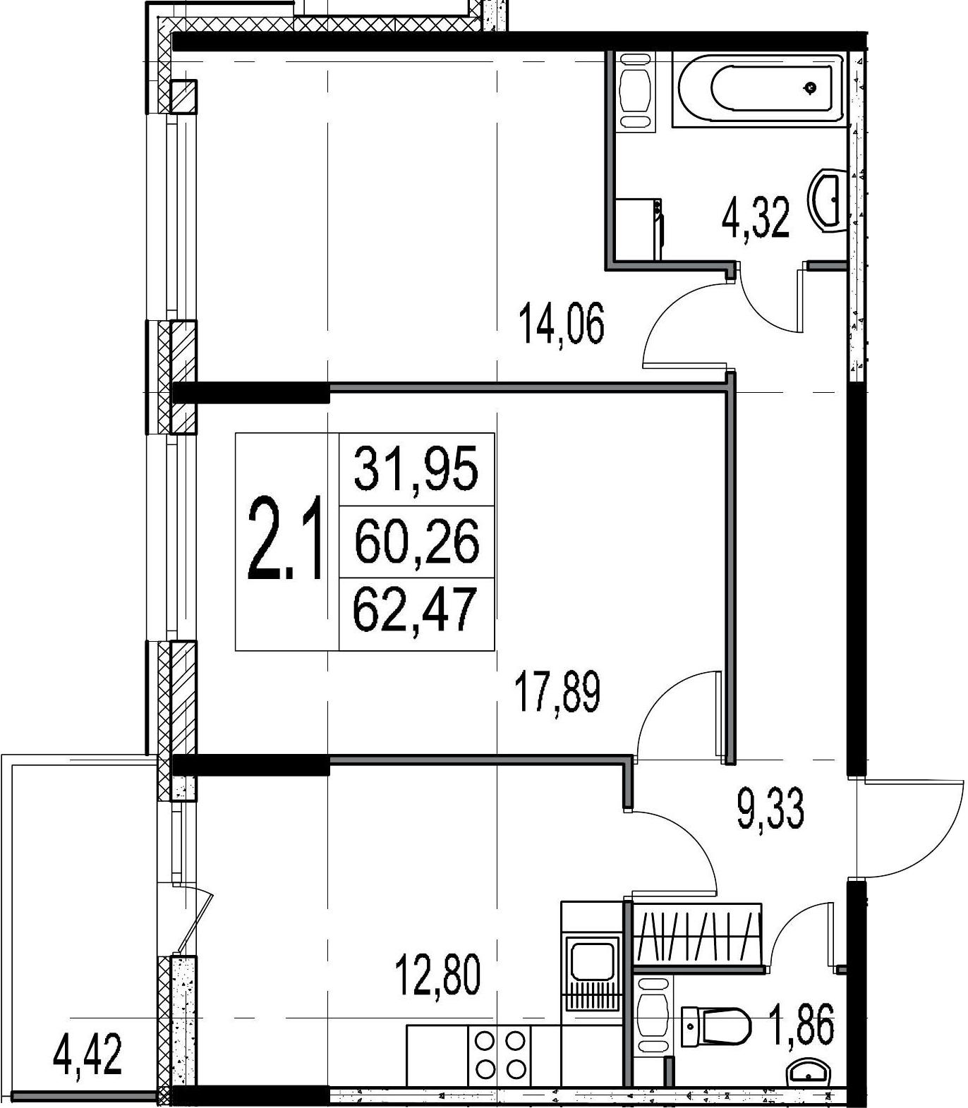 2-комнатная 64 м<sup>2</sup> на 9 этаже
