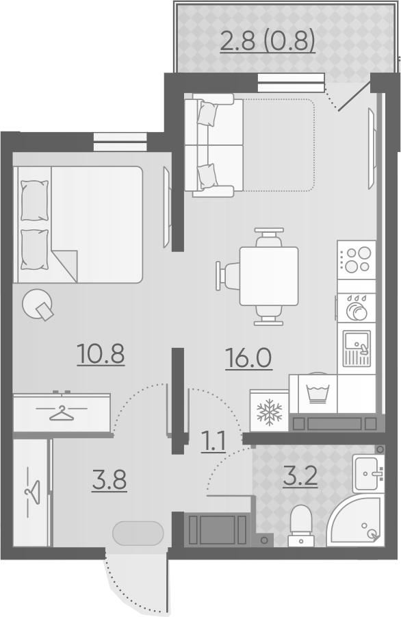 2-комнатная 37 м<sup>2</sup> на 12 этаже