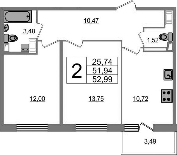 2-комнатная 55 м<sup>2</sup> на 12 этаже