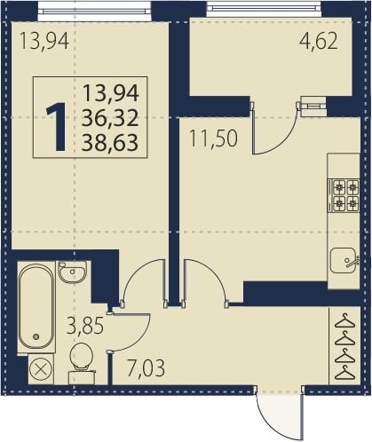1-комнатная 40 м<sup>2</sup> на 19 этаже
