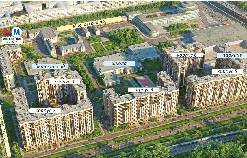 План жилого комплекса ЖК Московские ворота