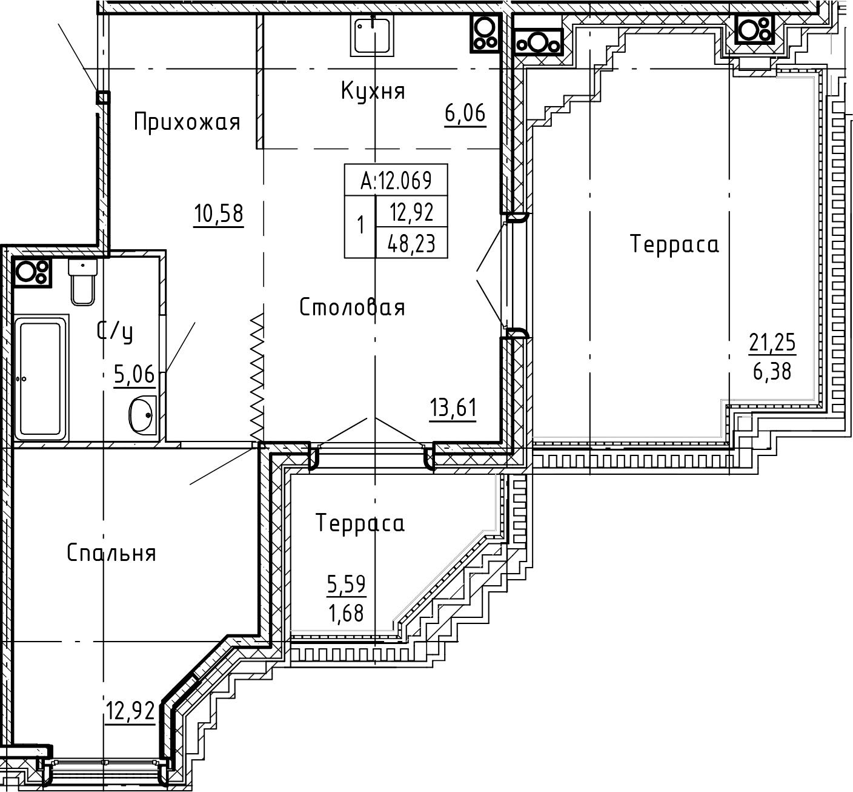 2-комнатная 75 м<sup>2</sup> на 12 этаже