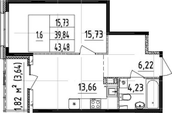 1-комнатная 43 м<sup>2</sup> на 8 этаже