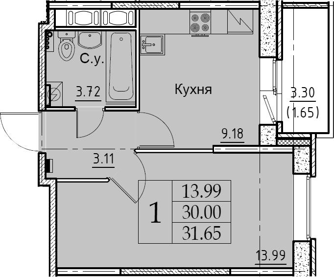 1-комнатная 33 м<sup>2</sup> на 10 этаже