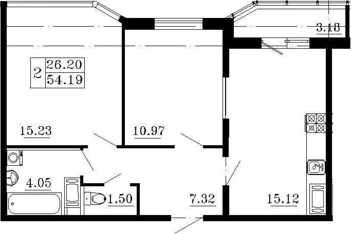 2-к.кв, 57.37 м²