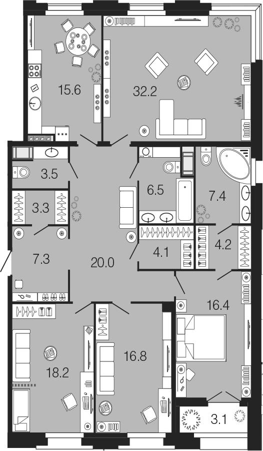 4-комнатная 158 м<sup>2</sup> на 7 этаже