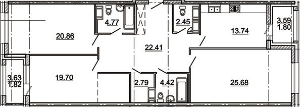 3-комнатная 124 м<sup>2</sup> на 9 этаже