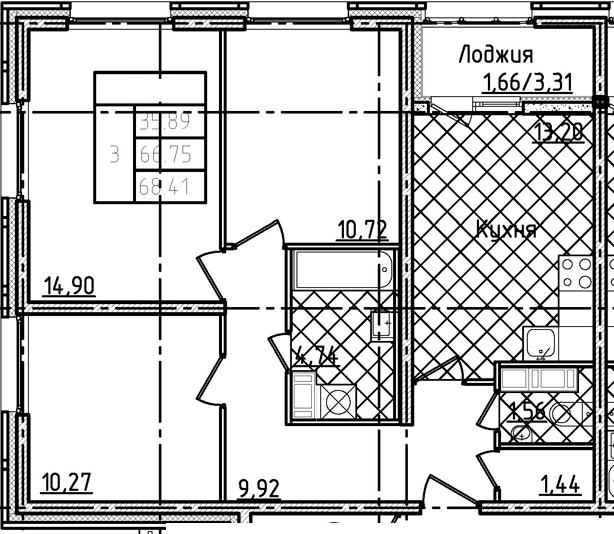 3-комнатная 70 м<sup>2</sup> на 13 этаже