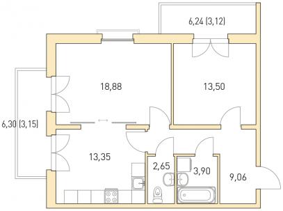 2-комнатная 73 м<sup>2</sup> на 3 этаже