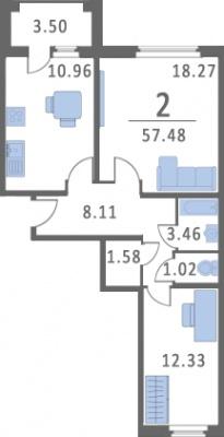 2-к.кв, 64.14 м²