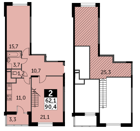 2-к.кв, 92.05 м²