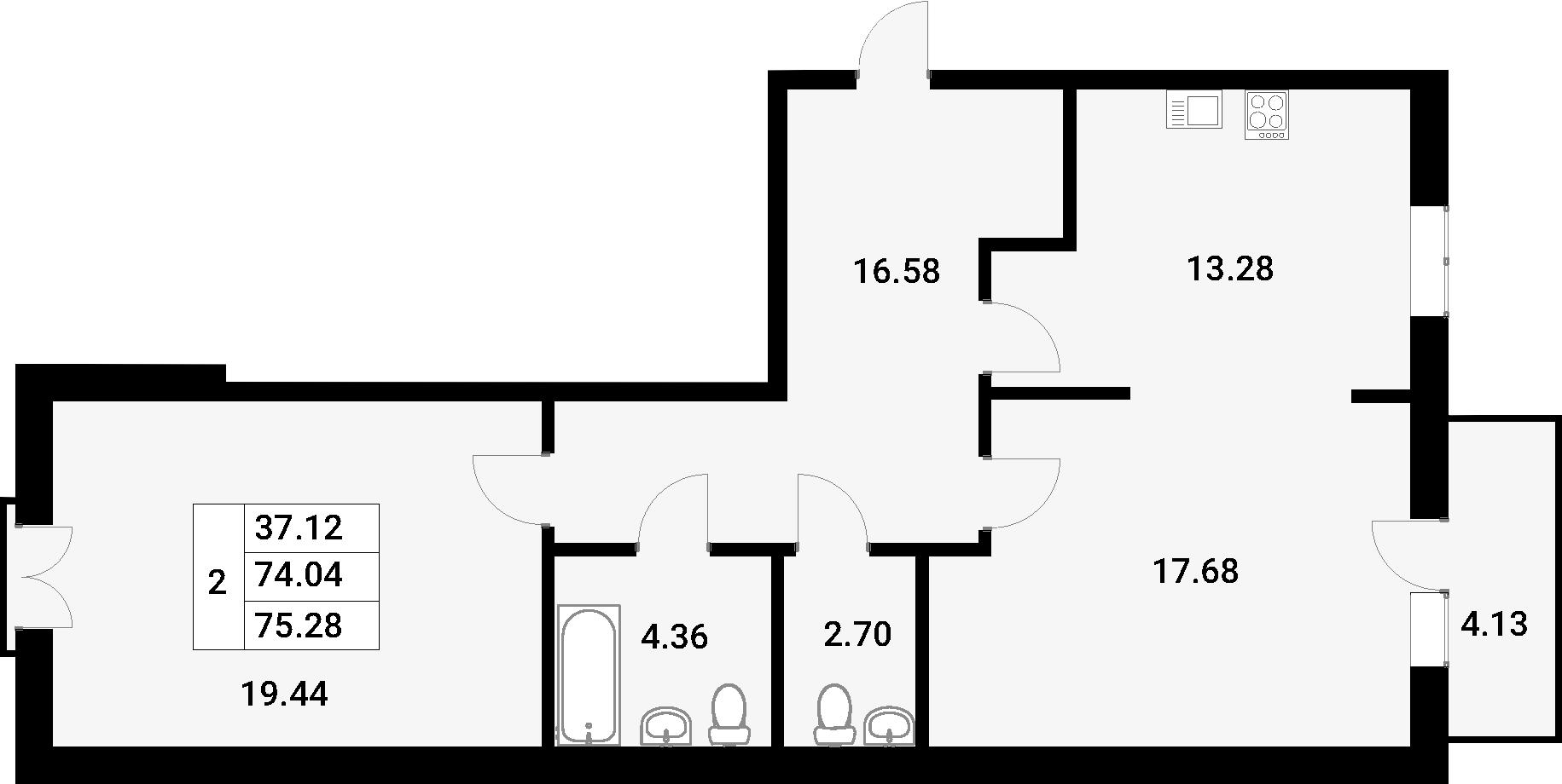 2-комнатная 78 м<sup>2</sup> на 2 этаже