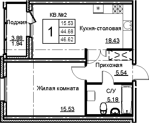 2-комнатная 48 м<sup>2</sup> на 3 этаже