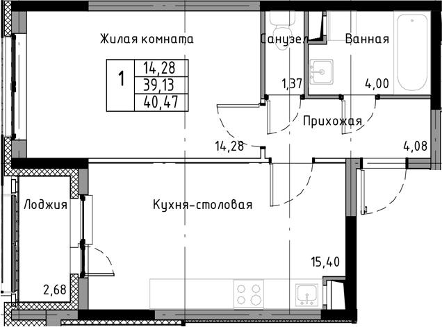 2-к.кв (евро), 41.81 м²
