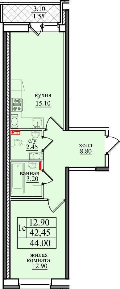 2-к.кв (евро), 45.55 м²