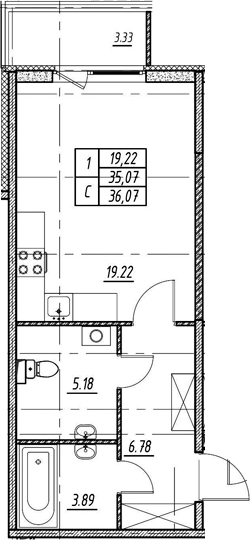 Студия 38 м<sup>2</sup> на 1 этаже