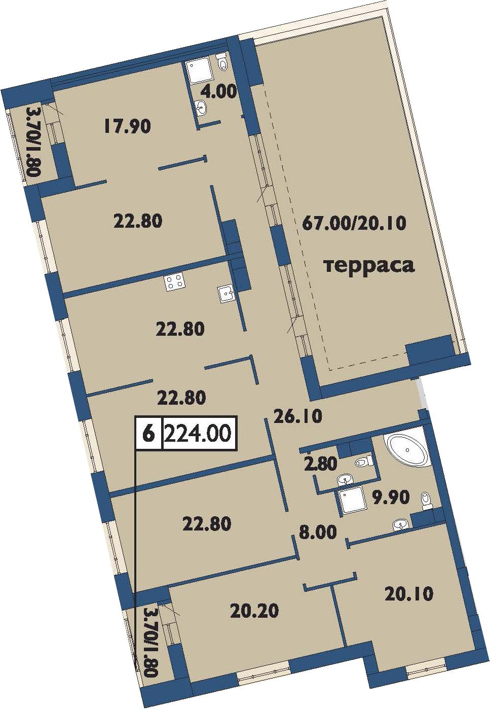 4-комнатная 274 м<sup>2</sup> на 12 этаже