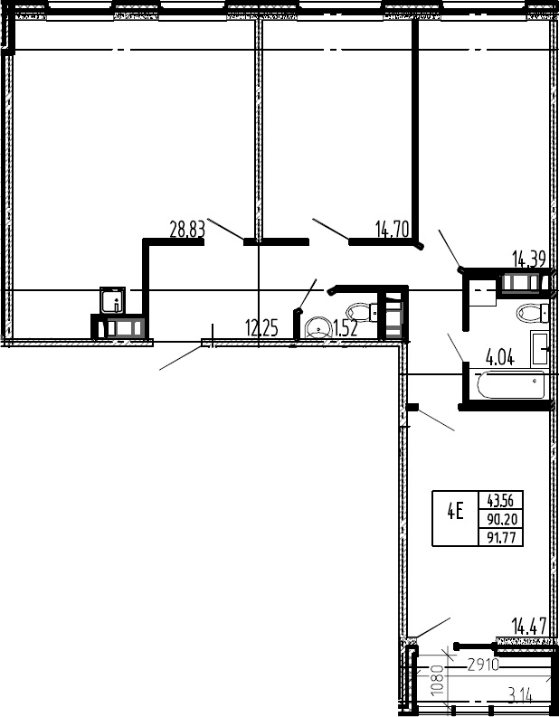4-к.кв (евро), 93.34 м²
