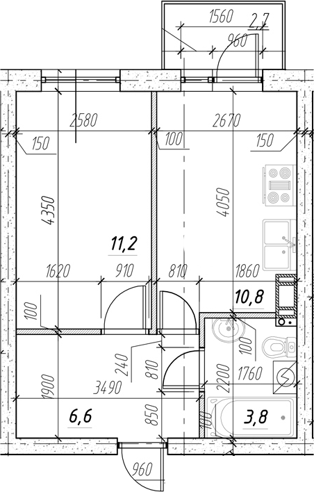 1-к.кв, 35.07 м²