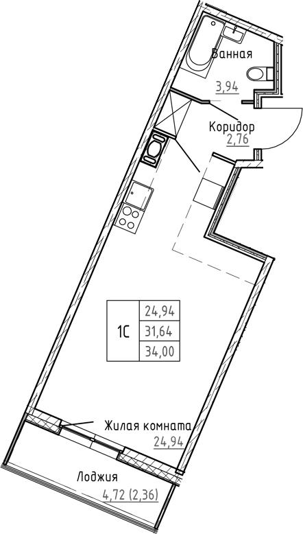 Студия 36 м<sup>2</sup> на 2 этаже