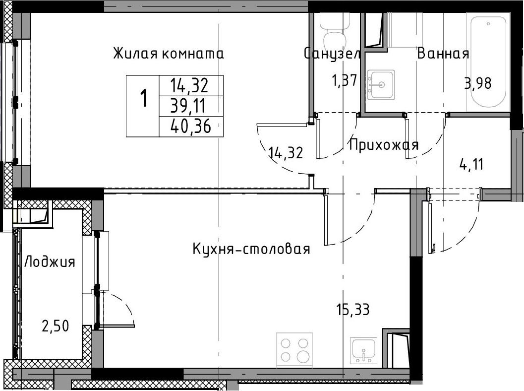 2-к.кв (евро), 41.61 м²