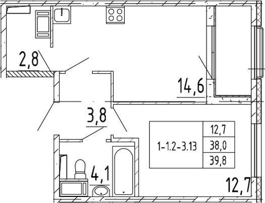 1-комнатная 41 м<sup>2</sup> на 15 этаже