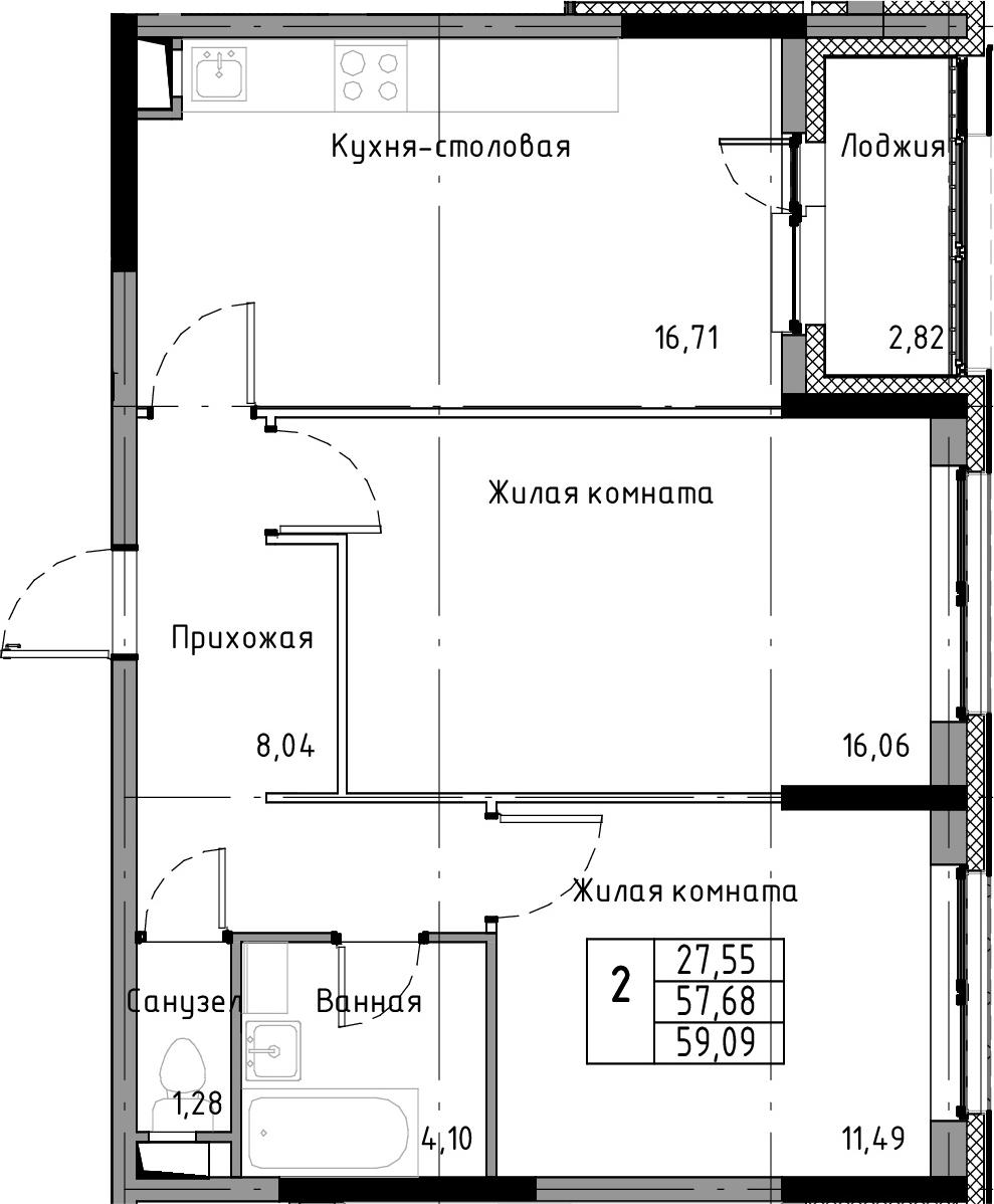 3-к.кв (евро), 60.5 м²