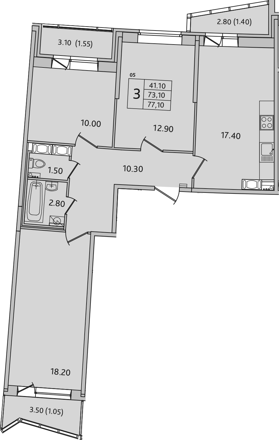 4-комнатная 82 м<sup>2</sup> на 8 этаже