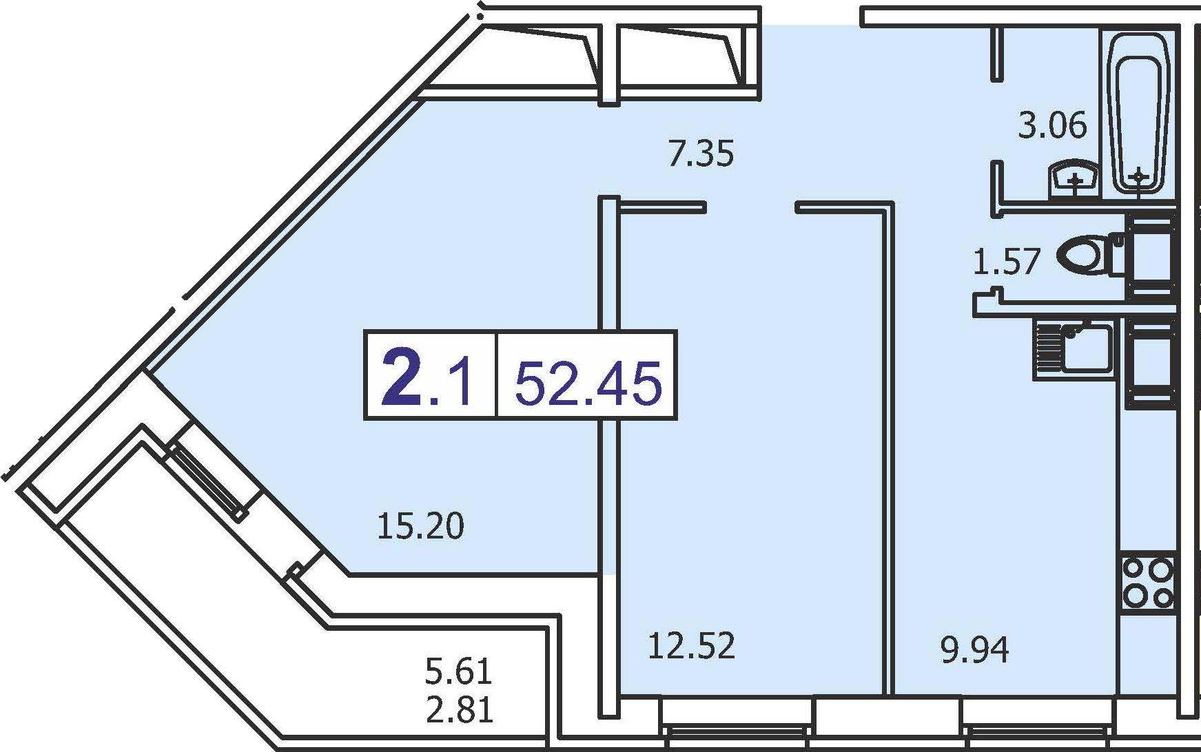 2-к.кв, 55.26 м²