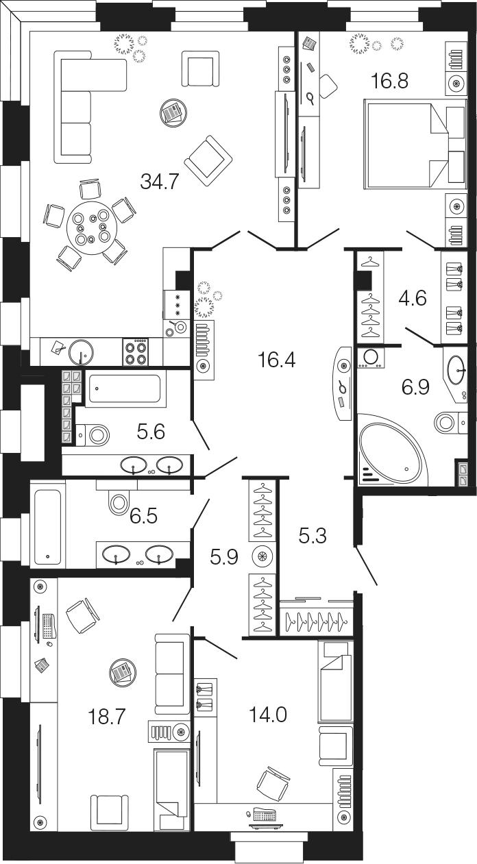4-комнатная 135 м<sup>2</sup> на 4 этаже