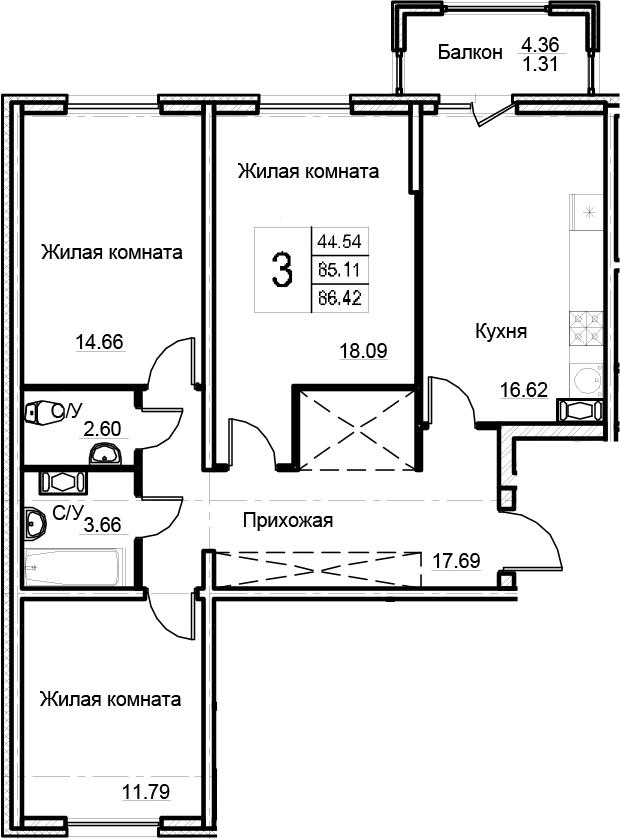 3-комнатная 89 м<sup>2</sup> на 3 этаже