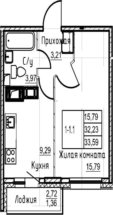 1-комнатная 34 м<sup>2</sup> на 20 этаже