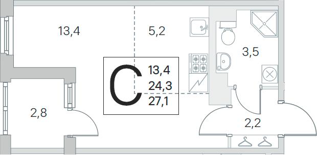 Студия 27 м<sup>2</sup> на 5 этаже