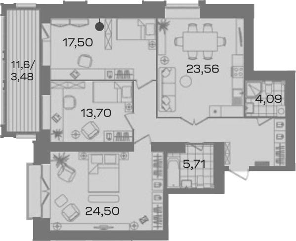 3-комнатная 116 м<sup>2</sup> на 5 этаже