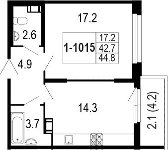 1-комнатная 47 м<sup>2</sup> на 10 этаже