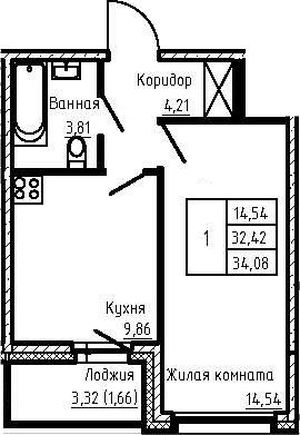 1-комнатная 35 м<sup>2</sup> на 1 этаже