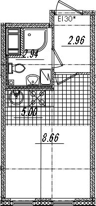 Студия 19 м<sup>2</sup> на 14 этаже