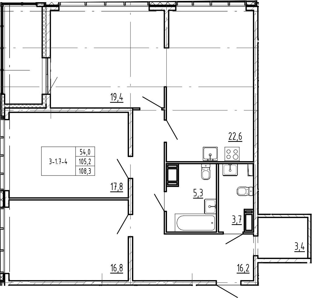 4-комнатная 111 м<sup>2</sup> на 19 этаже