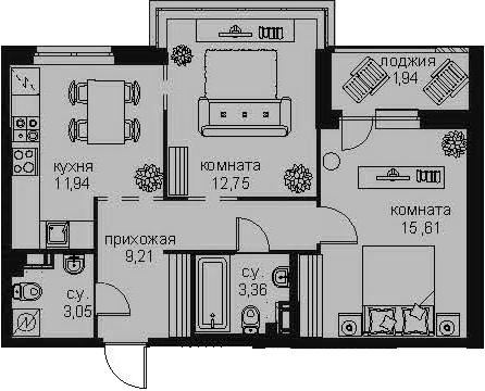 2-комнатная 59 м<sup>2</sup> на 3 этаже