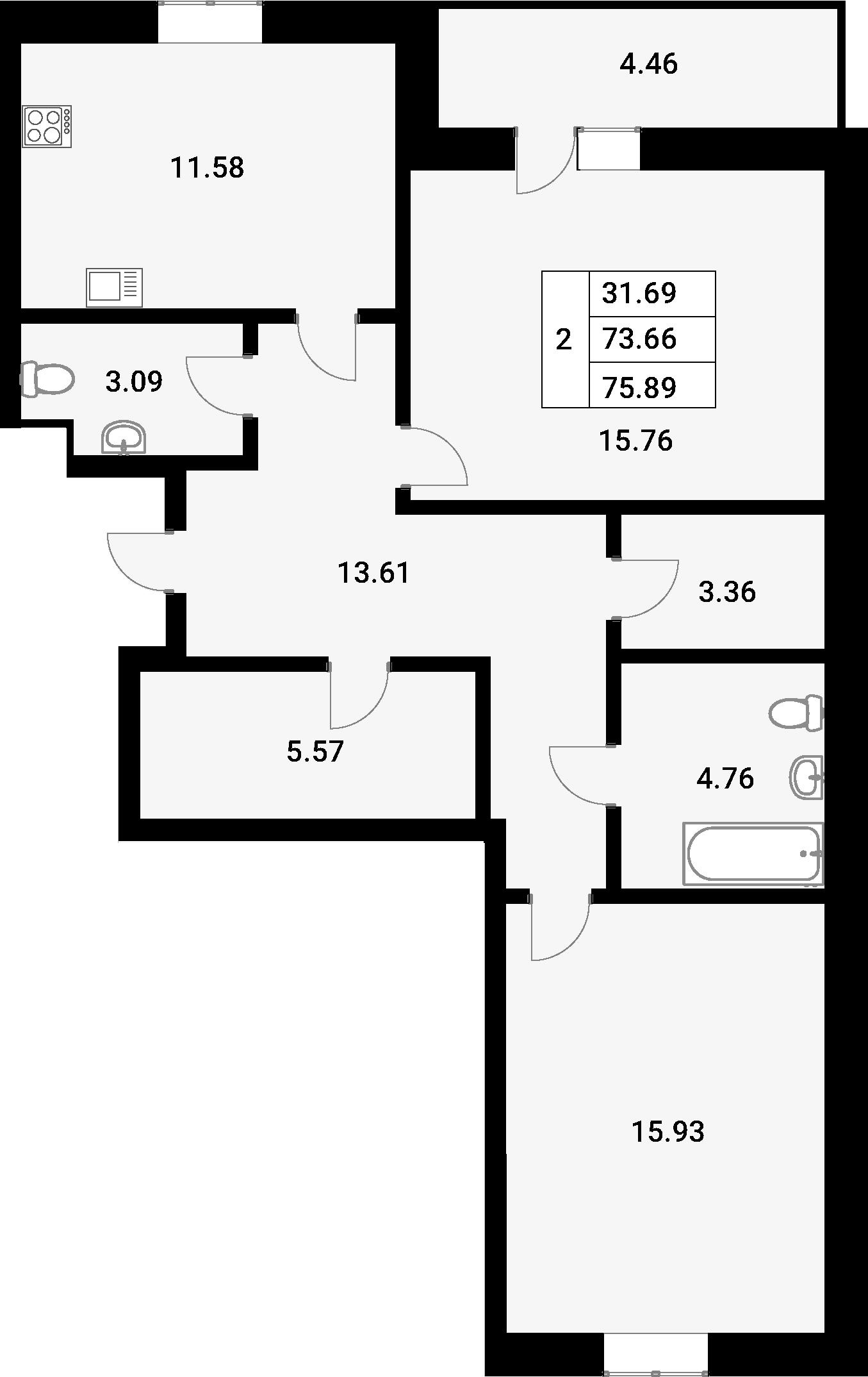 2-комнатная 78 м<sup>2</sup> на 1 этаже