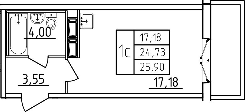 Студия 28 м<sup>2</sup> на 3 этаже