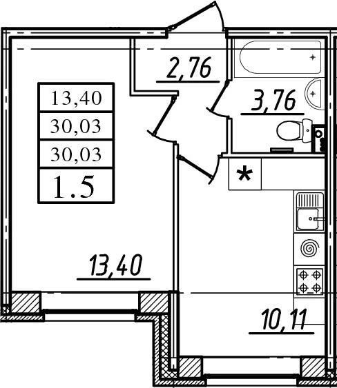 1-к.кв, 30.03 м²