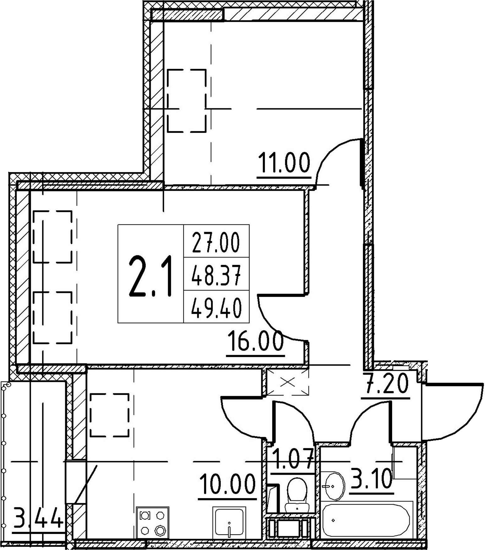 2-комнатная 51 м<sup>2</sup> на 5 этаже