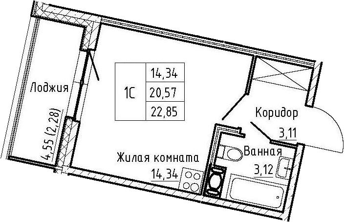 Студия 25 м<sup>2</sup> на 3 этаже