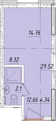 Студия 14 м<sup>2</sup> на 5 этаже