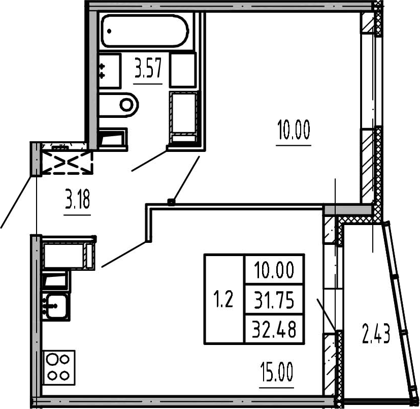 2-к.кв (евро), 34.18 м²