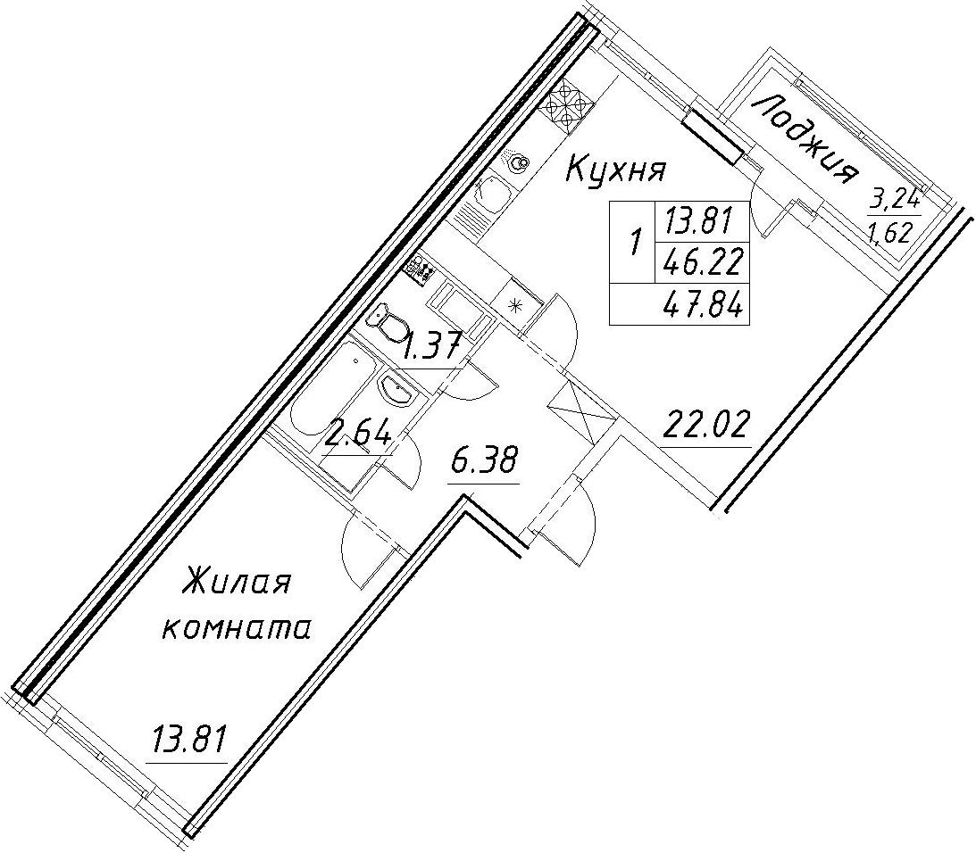 2-комнатная 49 м<sup>2</sup> на 7 этаже