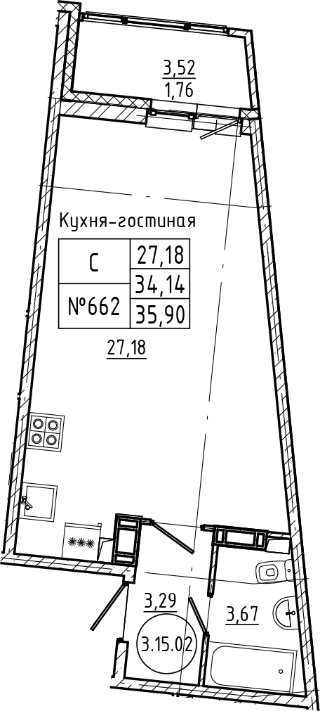 Студия 37 м<sup>2</sup> на 15 этаже
