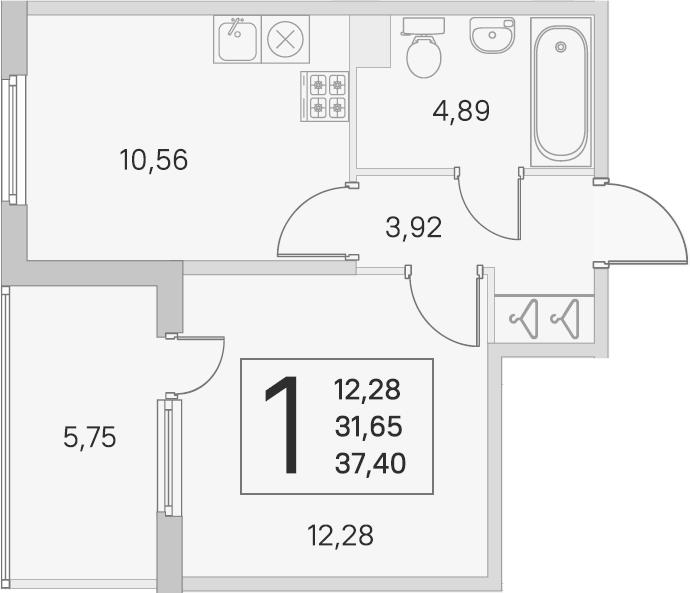 1-комнатная 37 м<sup>2</sup> на 1 этаже