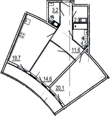 3-комнатная 87 м<sup>2</sup> на 3 этаже